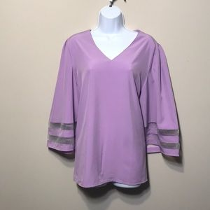 New. Blouse in Lilac. V-neck, Wide, 3/4 sleeves